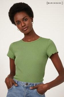 Warehouse Green Rib Lettuce Edge T-Shirt