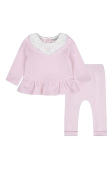 Baby Girls Pink Cotton Sweater Set With Lace Details