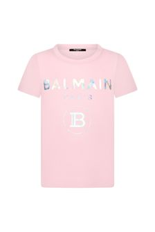 Balmain Girls Pink Cotton T-Shirt