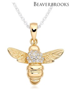 Beaverbrooks Silver And Rose Gold Plated Bee Pendant