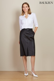 Baukjen Caviar Black Flynn Leather Skirt