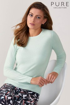 Pure Collection Green Cashmere Original Crew Neck Sweater
