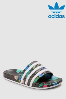 adidas Originals Black Floral Adilette Sliders