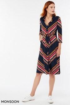 Monsoon Navy Sylvia Stripe Shirt Dress