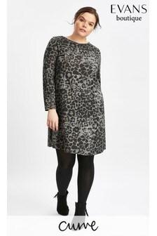 Evans Grey Soft Touch Leopard Shift Dress