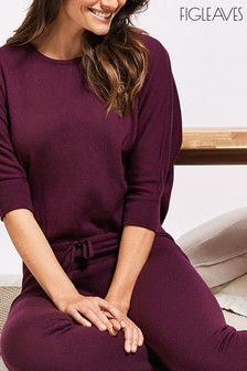Figleaves Berry Lounge Merino Cuffed Jumpsuit