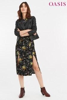 Oasis Black Rose Floral Long Sleeve Split Hem Midi Dress