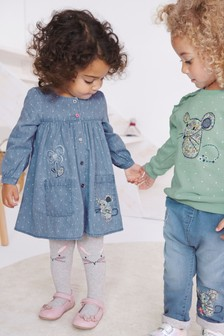 Chambray Long Sleeve Dress And Tights Set (3mths-7yrs)