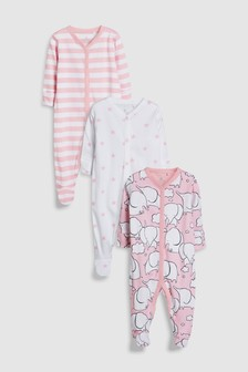 Elephant Character Sleepsuits Three Pack (0mths-2yrs)