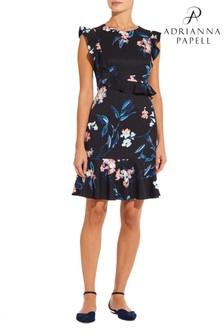 Adrianna Papell Black Royal Vines Printed Ruffle Dress