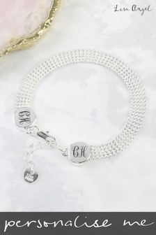 Personalised Initials Beaded Chain Disk Bracelet by Lisa Angel