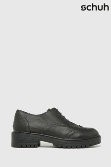 Schuh Black Lois Leather Lace-Up Brogues