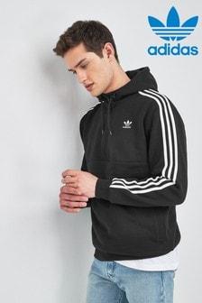 adidas Originals Black 3 Stripe 1/2 Zip Hoody