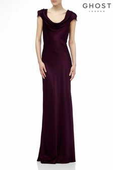 Ghost London Purple Sylvia Bloom Satin Maxi Dress