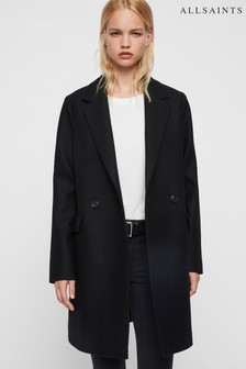 AllSaints Black Formal Dree Overcoat