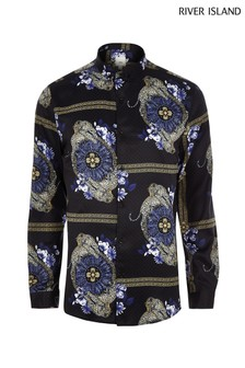River Island Navy Long Sleeve Floral And Leopard Print Shirt