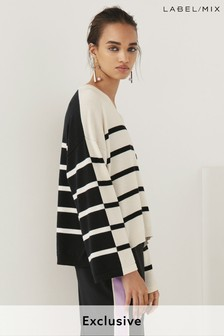 Next/Mix Stripe V-Neck Knit