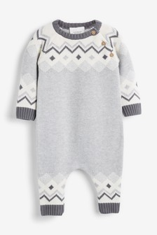 Argyle Pattern Knitted Romper (0mths-2yrs)