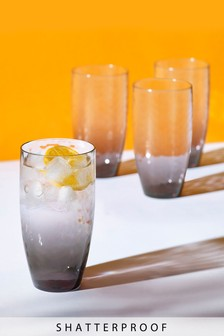 Set of 4 Ombre Effect Plastic Tumblers