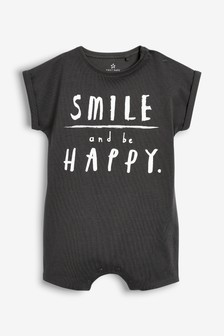 Smile And Be Happy Slogan Romper (0mths-2yrs)