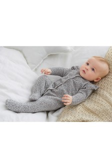 Frill And Spot Velour Sleepsuit (0mths-2yrs)