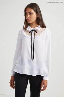 French Connection White Tie Neck Blouse
