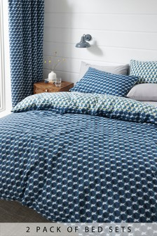 2 Pack Multi Dot Duvet Cover And Pillowcase Set