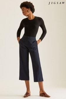 Jigsaw Blue Modern Crepe Crop Straight Trouser