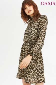 Oasis Animal Sheared Neck Dress