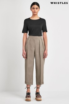 Whistles Lydia Linen Pleated Trousers