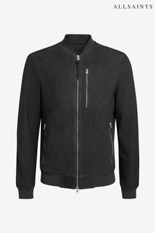 AllSaints Charcoal Stones Suede Leather Jacket
