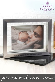 Personalised Metallic Grey Photo Frame by Treat Republic