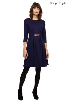 Phase Eight Blue Parisa Belted Ponte Dress