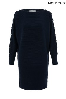 Monsoon Ladies Blue Belle Button Detail Dolman Dress