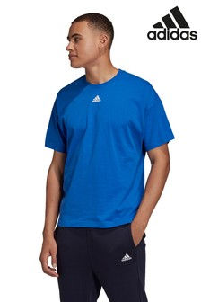 adidas Must Have Blue 3 Stripe T-Shirt