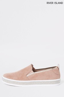 River Island Nude Slip-On Pump