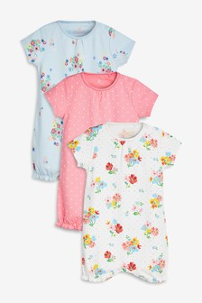 Multi Floral Rompers Three Pack (0mths-2yrs)