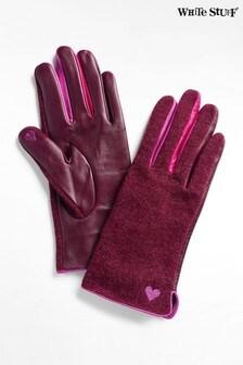 Fioletowe skórzane rękawiczki w bloki kolorów White Stuff Lucy
