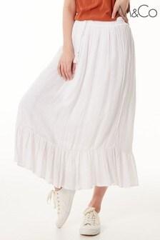 M&Co White Shimmer Crinkle Skirt