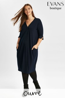 Evans Blue Cocoon Pocket Dress