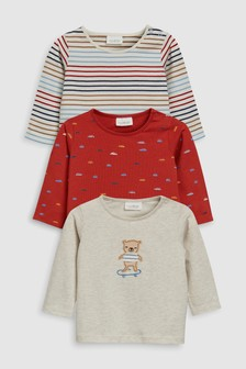 Character And Stripe T-Shirts Three Pack (0mths-2yrs)
