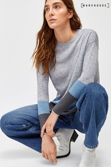 Warehouse Blue Colourblock Split Hem Jumper