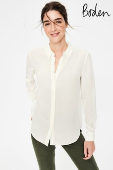 Boden White Silk Shirt