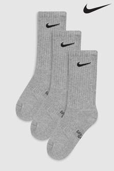 Nike Kids Grey Cushioned Crew Training Socks 3 Pack