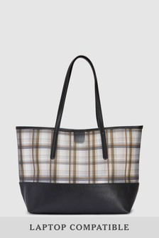 Vinyl Opaque Check Shopper