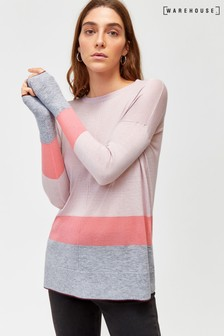 Warehouse Pink Colourblock Split Hem Jumper