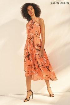 c46c9f0541b Karen Millen Orange Pleated Floral Dress