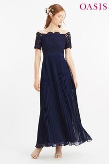 Oasis Blue Lace Bardot Maxi Dress