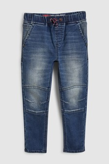 Jersey Denim Knee Seam Pull On Jeans (3-16yrs)
