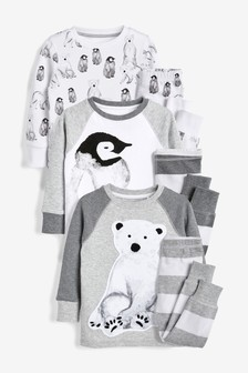 3 Pack Arctic Animal Snuggle Pyjamas (9mths-8yrs)